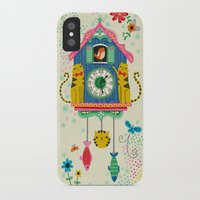 wall clock iPhone & iPod Cases featuring Cuckoo Clock Cats by Anne Was Here