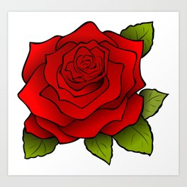 Cartoon Beautiful Rose Art Print
