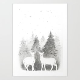 Albino Deer and Pine Forest with Stars Art Print