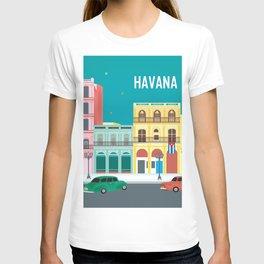 Havana, Cuba - Skyline Illustration by Loose Petals T-shirt