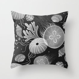 Ocean life - black and white Throw Pillow