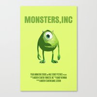 monsters inc Canvas Prints featuring Monsters, Inc by FunnyFaceArt