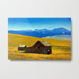 old wooden barn landscape digital oil painting akvop std Metal Print