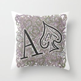 Ace of Spades Skribble Black and White Throw Pillow