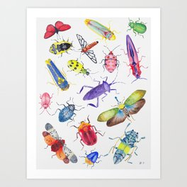 Colorful Bugs and Beetles Collection Art Print