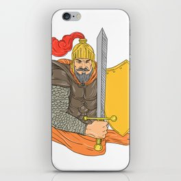 Old Knight Sword Shield Drawing iPhone Skin