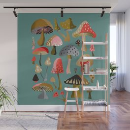 Mushroom Collection – Mint Wall Mural