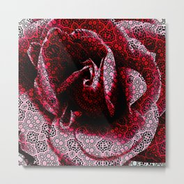 Rose Textured with Digital Lace Pattern Metal Print