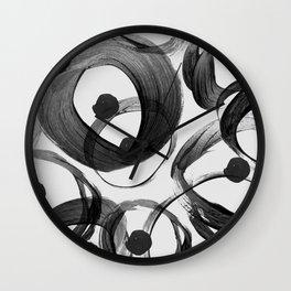 Trendy white black watercolor brushstrokes dots  Wall Clock
