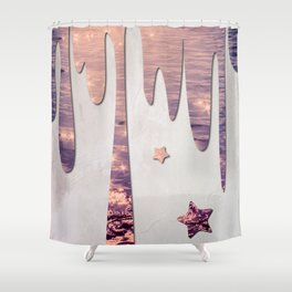 Glittery Purple Ocean Dripping on Grunge White Wall Shower Curtain