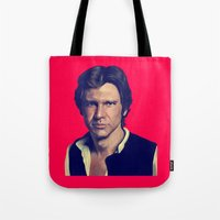 han solo Tote Bags featuring Han Solo  by Jemma Klein