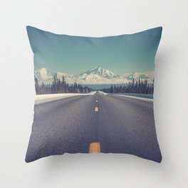 Snow Mountain Road (Color) Throw Pillow