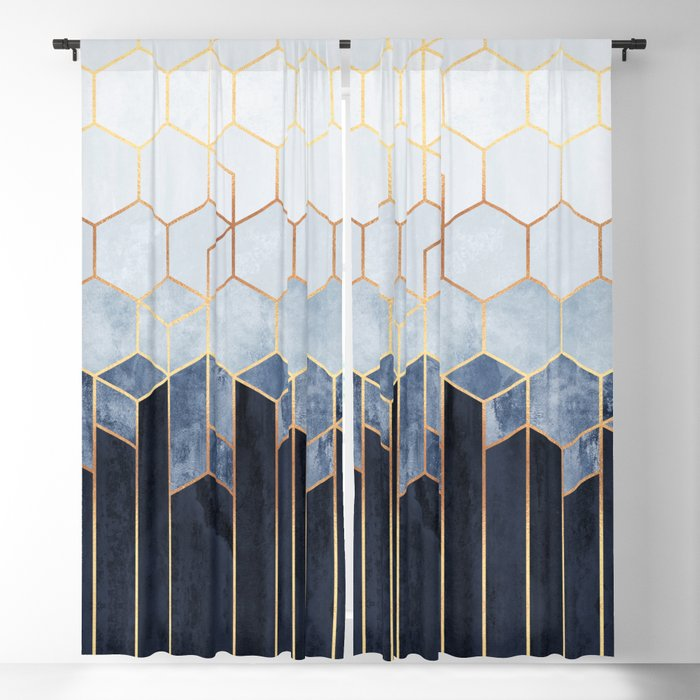 Soft Blue Hexagons Blackout Curtain