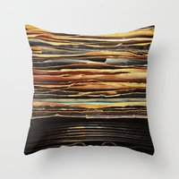 records Throw Pillows featuring Sunrise Records by Margaux Thibeault
