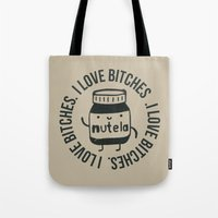nutella Tote Bags featuring Inappropriate Nutella by Agustin Flowalistik