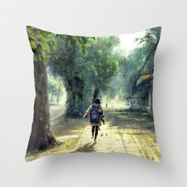 Cute Schoolgirl Dancing The Way Home Anime Scenery Ultra High Definition Throw Pillow