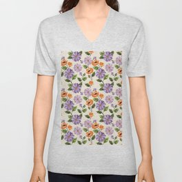 Rustic orange lavender ivory floral illustration Unisex V-Neck