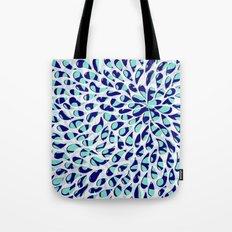 Organic Petals Pattern Navy Blue Turquoise Tote Bag