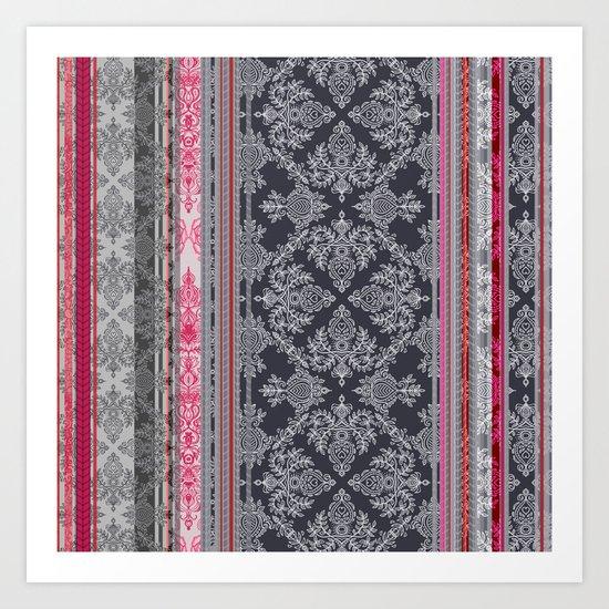 Burgundy, Pink, Navy & Grey Vintage Bohemian Wallpaper Art Print