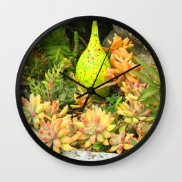 Contemporary, Colorful Succulents in Vintage Clay Pot Wall Clock