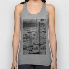 Queensferry Crossing Under Construcion in the Clouds Unisex Tank Top