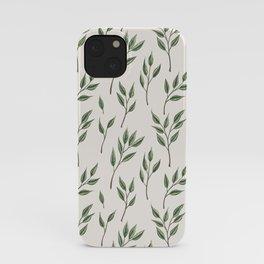 Green leaf sprig pattern iPhone Case