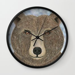 brown bear woodland animal portrait Wall Clock