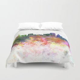 Hartford skyline in watercolor background Duvet Cover