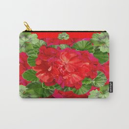 Decorative Red Flower Geraniums Green Leaves Abstract Carry-All Pouch