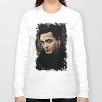johnny cash Long Sleeve T-shirts featuring Cash by Sirenphotos