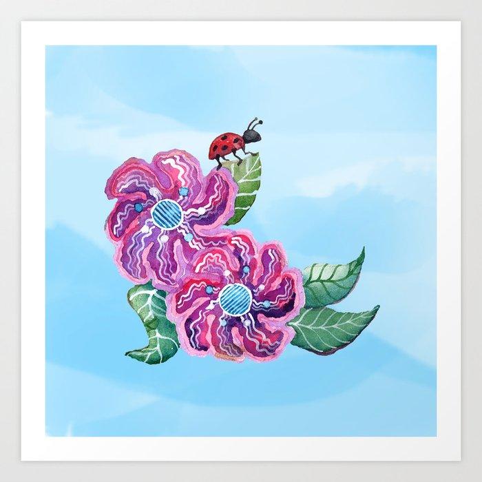 Contemplative Ladybug Art Print
