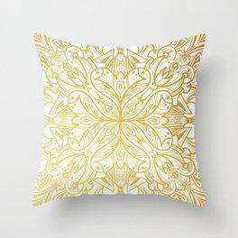 Gold in Mandala Throw Pillow