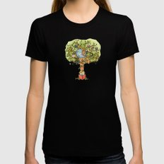 StoryTime Tree Womens Fitted Tee LARGE Black