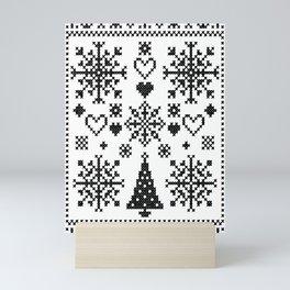 Christmas Cross Stitch Embroidery Sampler Black And White Mini Art Print