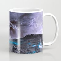 planet of the apes Mugs featuring Extraterrestrial Landscape : Galaxy Planet by 2sweet4words Designs