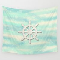 ships Wall Tapestries featuring Ships Wheel in cream by Fischer Fine Arts