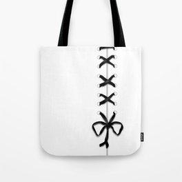 Laced Black Ribbon on White Tote Bag