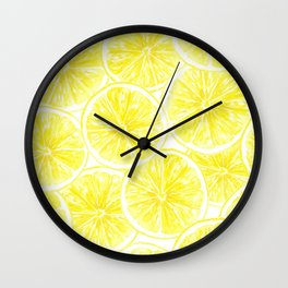 Lemon slices pattern watercolor Wall Clock