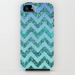 glittery ocean chevron iPhone Case