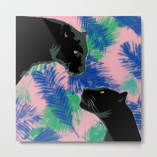 Panthers with palm leaves Metal Print