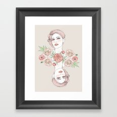 Woman with flowers and beetles Framed Art Print