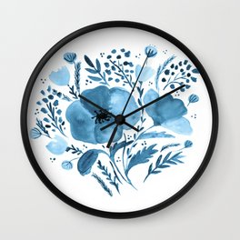 Flower bouquet with poppies - blue Wall Clock