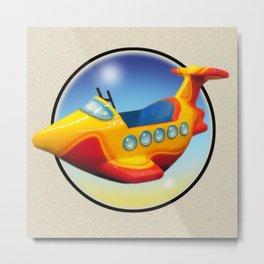 Kiddie Ride Wavy Airplane Metal Print