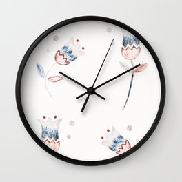 Red Blue Grey Floral Pattern #1 #drawing #decor #art #society6 Wall Clock