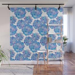 Rosette Succulents – Blue Palette Wall Mural