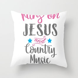 Top Fun Country Music and Jesus Gift Design Throw Pillow