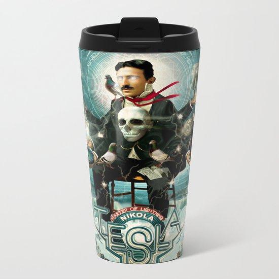 Nikola Tesla Master of Lightning Metal Travel Mug