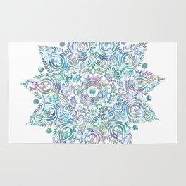 Mermaid Dreams Mandala on White Rug