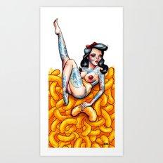 Cheesy Poofs lady Art Print
