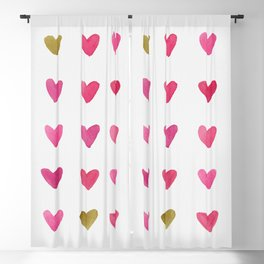 Watercolor Hearts - Pink, Red and Gold Blackout Curtain